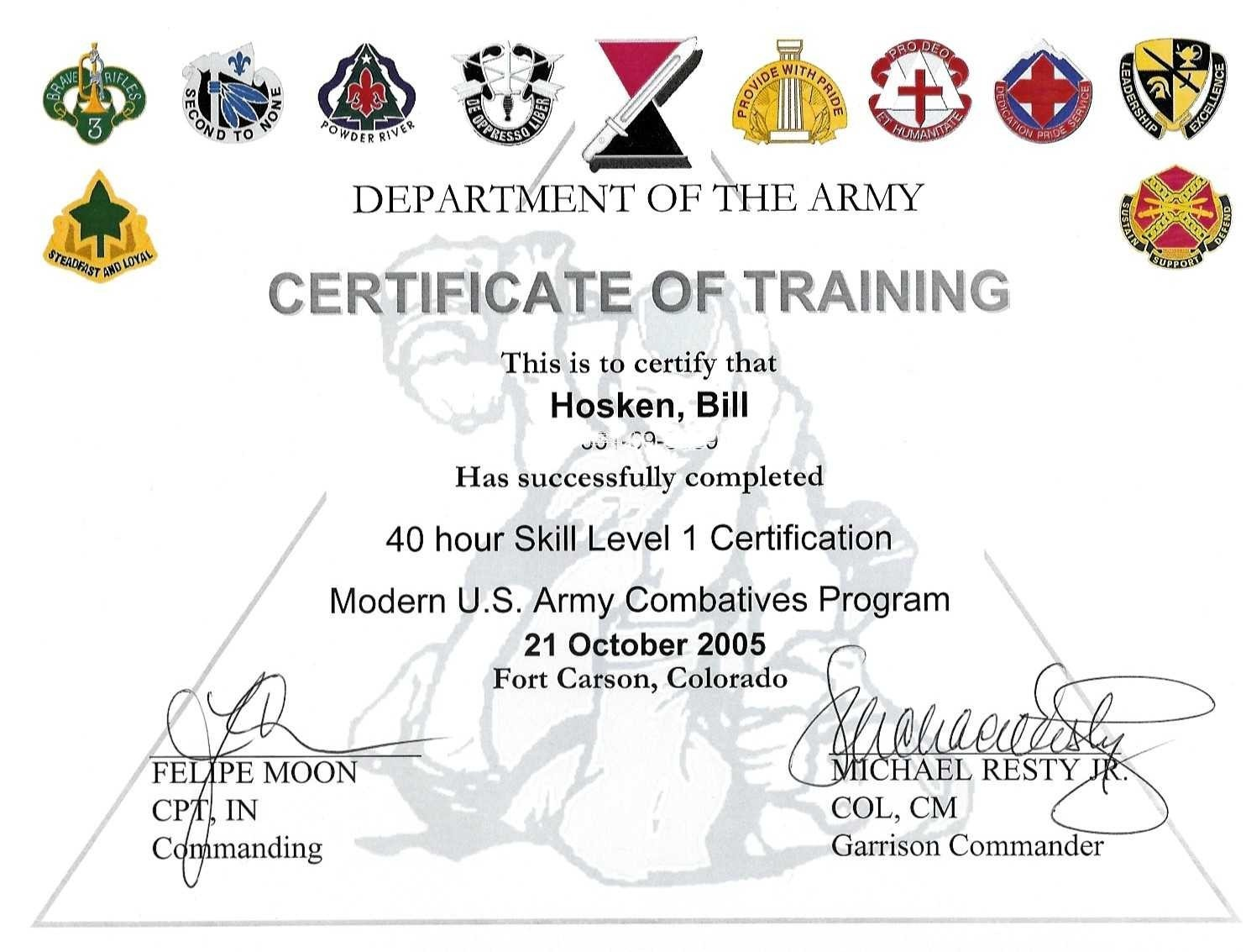 Colorado Springs Brazilian Jiu Jitsu – Army Certificate of Appreciation